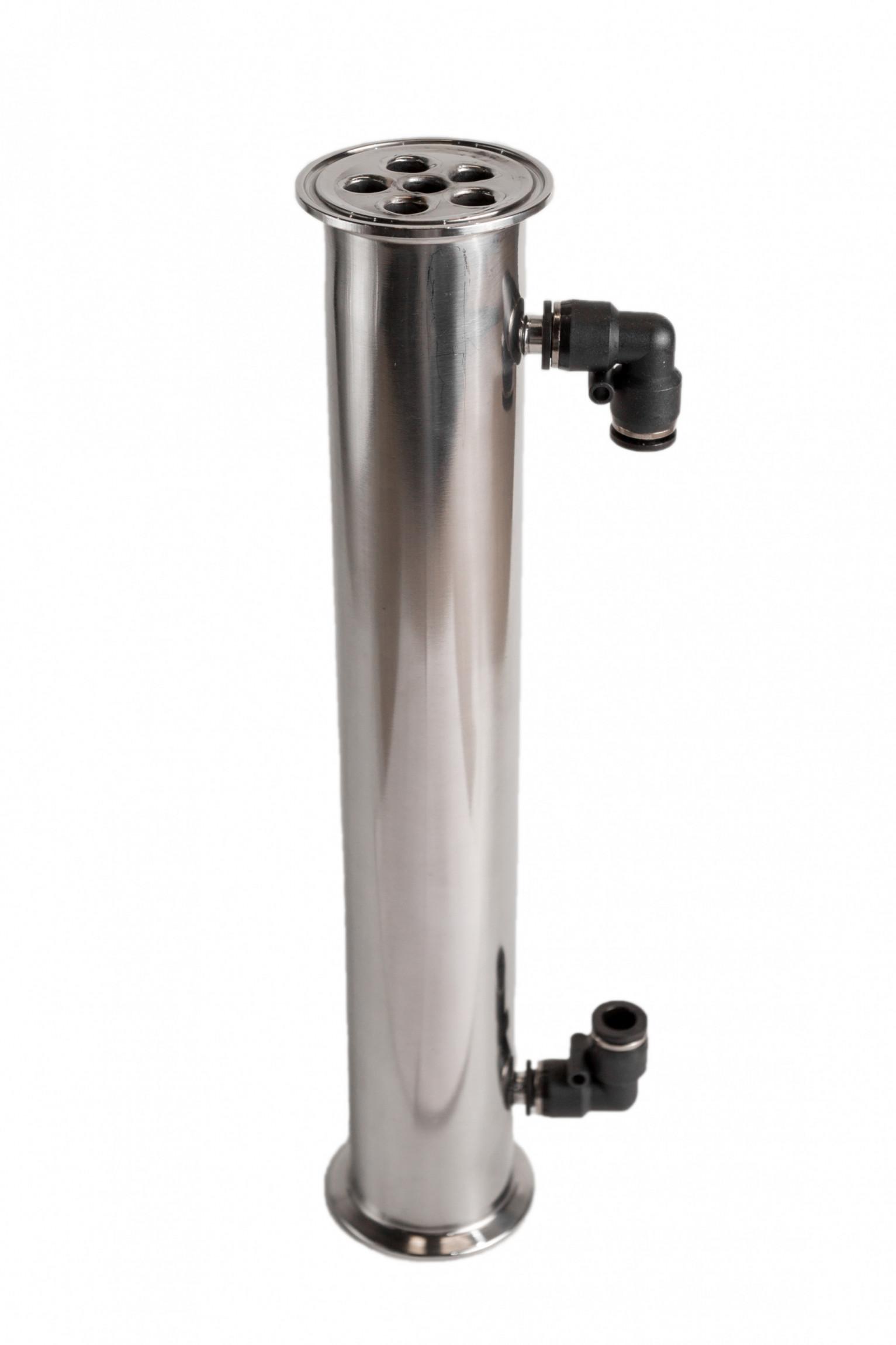 "Холодильник кожухотрубный из нержавейки 330 мм х 2"" (6 трубок)"
